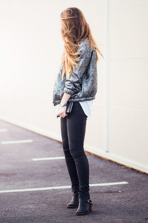 silver bomber isabel marant h&m jacket - moto Nelly boots