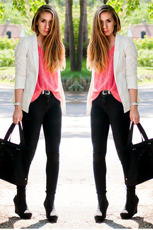coral Sheinside sweater - lager 157 jeans - white unknown blazer