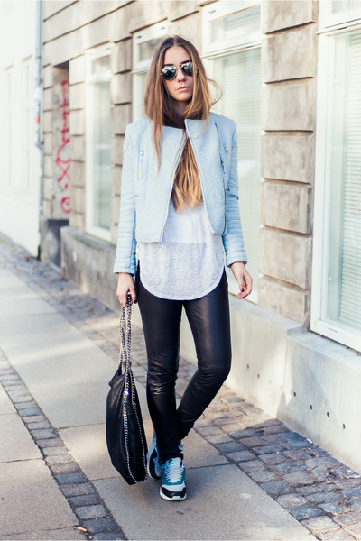 light blue Zara jacket - black falabella Stella McCartney bag
