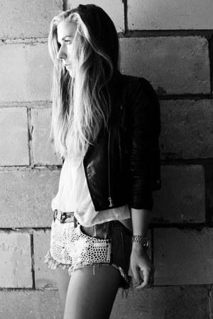 faux leather H&M jacket - white chiffon chicwisj shirt