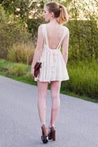 romwe dress - clutch stylebystories bag - wood heel Nelly heels