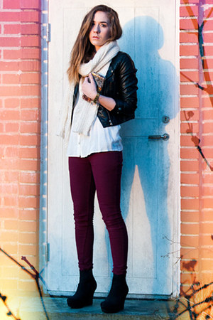burgundy Criminal Damage jeans - leatherette H&amp;M jacket