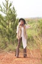 light brown faux fur Zara vest - neutral crochet vest