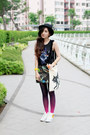 Black-mini-pink-floyd-h-m-dress-black-hat-charcoal-gray-ombre-topshop-tights