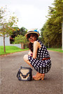 Navy-moms-dress-nude-hat-dark-gray-pull-bear-bag-tan-abacus-wedges-brick