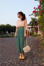 Peach-quilted-charles-keith-bag-turquoise-blue-pleated-pick-me-shop-pants