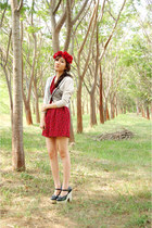 ruby red roses dress - cream Promod cardigan - ruby red diy headband accessories