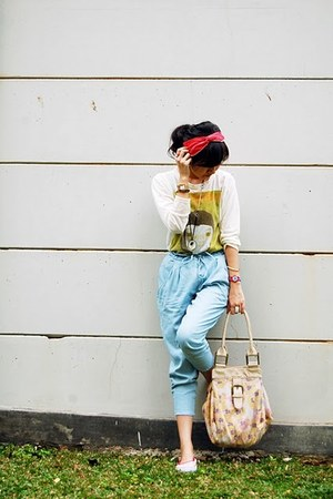 sky blue harem random brand jeans - red Converse shoes - beige sack Topshop bag