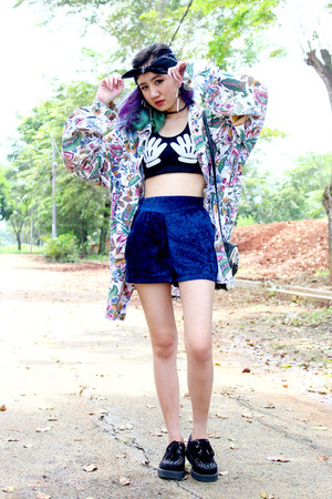 black creepers new look shoes - light purple vintage shirt - blue velvet shorts