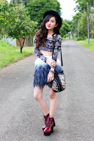 Navy Ombre Feather Zara Skirts Brick Red Tardy Jeffrey