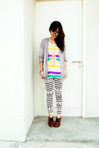 turquoise blue top - amethyst top - yellow top - silver cardigan