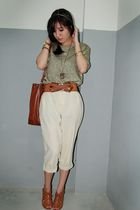 beige pants - brown pull&bear shoes - brown - brown yellowline belt - gold top