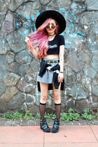 black cut out Topshop boots - black wide brim H&M hat - black H&M belt