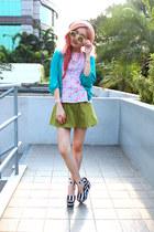 bubble gum peplum loushkii top - turquoise blue unbranded cardigan