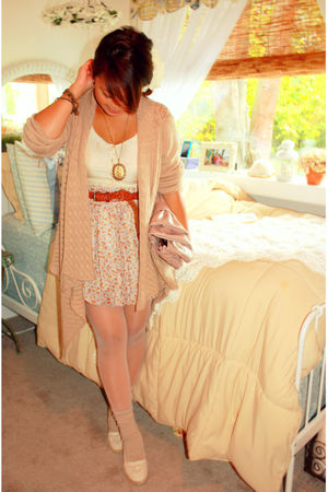 beige Old Navy cardigan - beige shoes - blue Nordstrom skirt - white Forever 21
