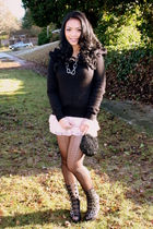 pink H&M skirt - black H&M sweater - black Jeffrey Campbell shoes - black vintag