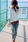 White-h-m-shirt-beige-vintage-purse-brown-vintage-belt-brown-steve-madden-