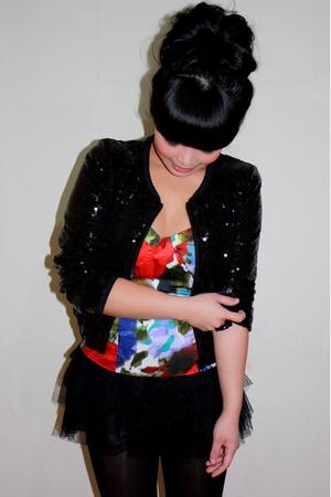 black H&M cardigan - red Forever 21 top - black Forever 21 skirt
