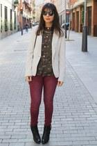 suiteblanco blouse - Mustang boots - suiteblanco jeans - Zara blazer