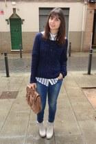 Stradivarius jumper - Coolway boots - Zara jeans - Stradivarius shirt