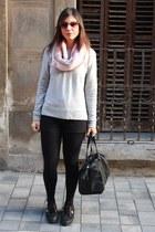 Naf Naf sweatshirt - Primark scarf - Stradivarius bag - vICTORIA sneakers