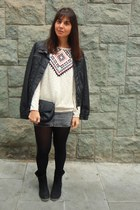 Promod jumper - Marypaz boots - Bershka jacket - Mango bag - H&M skirt
