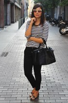 black Stradivarius bag - asos sunglasses - Mango pants
