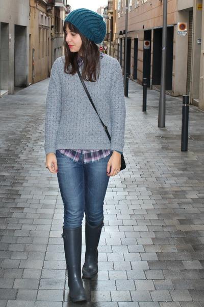 gioseppo boots - Topshop jeans - Esprit shirt - Mango bag - Stradivarius jumper