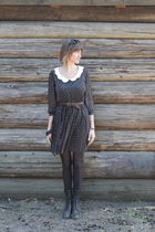 black Zara dress - black madewell boots - brown vintage belt