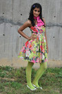 Ivory-artistry-dress-hot-pink-knit-own-scarf-chartreuse-street-buy-stockings