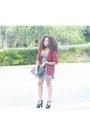 Magenta-printed-skater-bebop-dress-crimson-vinatge-dorothy-perkins-blazer