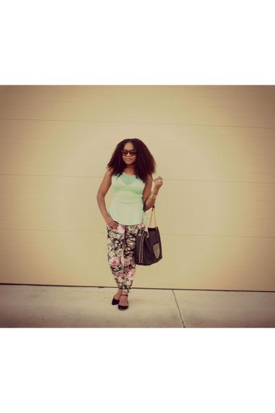 lime green peplum Tistory top - black ankle strap Cosmopolitan flats