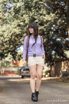 light purple knit romwe sweater - black cat eye Wholesale Celebshades glasses
