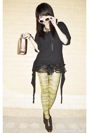 mustard newspaper romwe tights - dark brown Payless boots