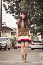 brown colorful romwe dress - brown feather Accessorize accessories