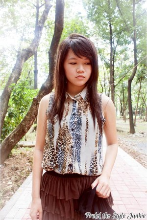 eggshell sheer Wild Doll top - dark brown tulle landmark skirt