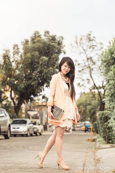 black gold TMART bag - cream v-neck romwe dress