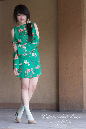 green floral print romwe dress