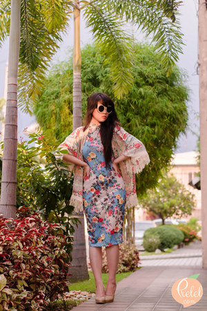 light blue floral milanoo dress - cream kimono romwe jacket