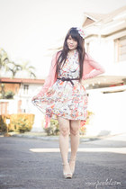 white colorful romwe dress - bubble gum long cardigan giordano cardigan