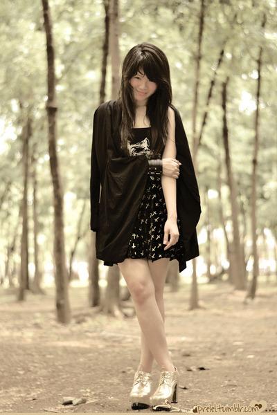 gold platform Mart of China shoes - black romwe jacket