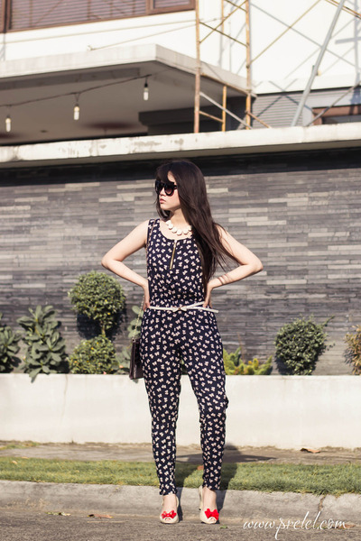 black jumpsuit Kismet romper - black cat eye zeroUV sunglasses