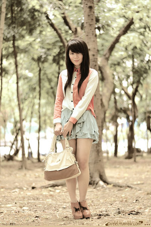 salmon color block romwe top - tawny Preta Porter boots