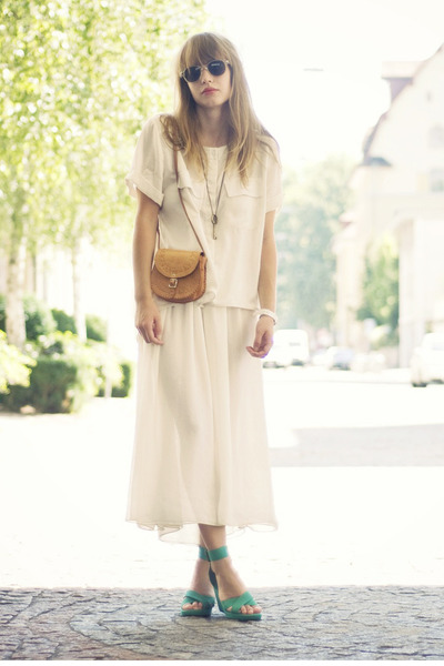 bag - H&M sunglasses - vintage H&M wedges - H&M blouse - American Apparel skirt