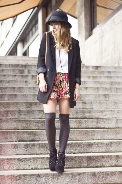 litas Jeffrey Campbell heels - H&M hat - H&M blazer - bag - H&M t-shirt
