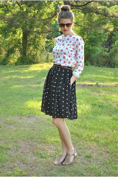 black JCPenney skirt - dark brown thrifted vintage sunglasses