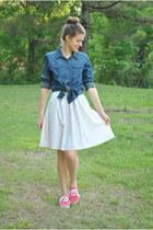 navy denim shirt liz claiborne shirt - eggshell cotton Jcrew skirt
