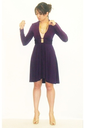 gold cutout style&amp;co shoes - purple plunge neckline Trina Turk dress