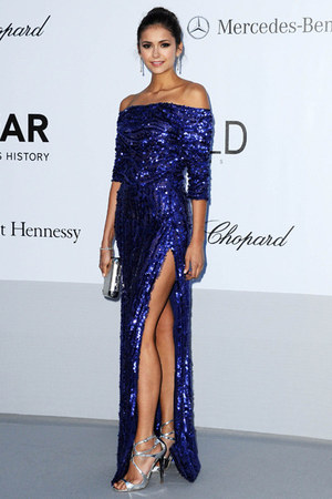 blue glitter sequins Elie Saab dress - silver heels