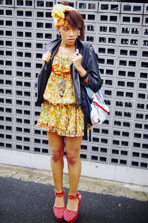 romwe jacket - flower print dress - star wars print bag - Ego and Greed wedges